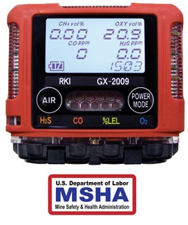 GX-2009 MSHA gas monitor view