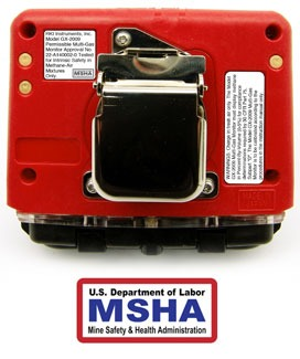 GX-2009 MSHA gas monitor back view