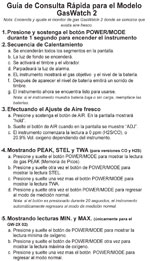 GasWatch 2 Spanish Quick Reference Card